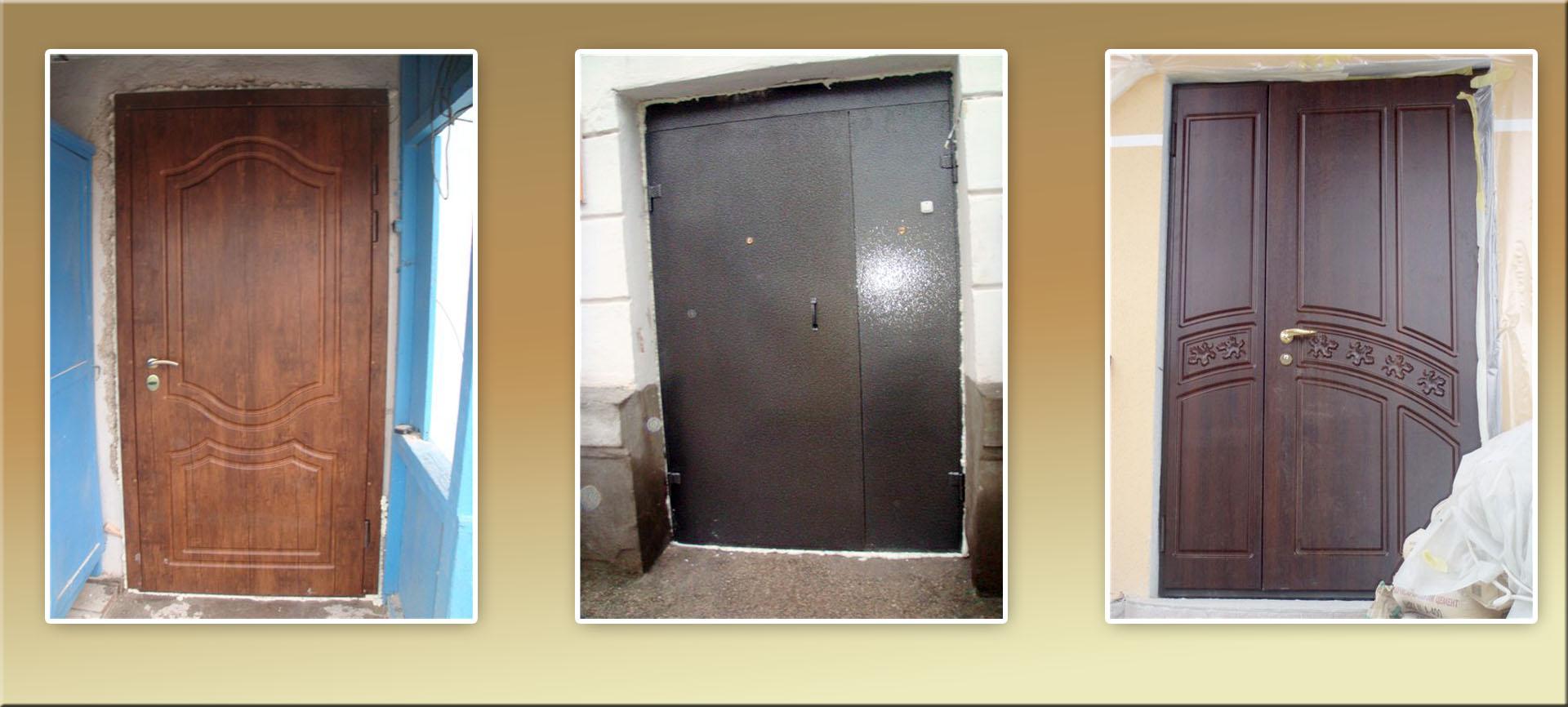 железные двери крашеные с ковкой